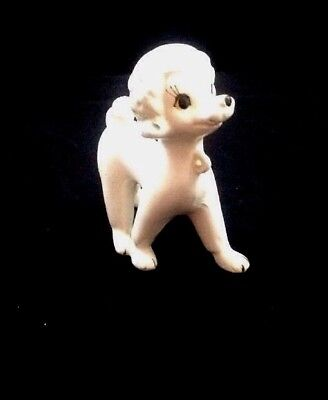 """Mid Century Vintage French Poodle Miniature Porcelain Hand Painted White 5"""" Tall"""