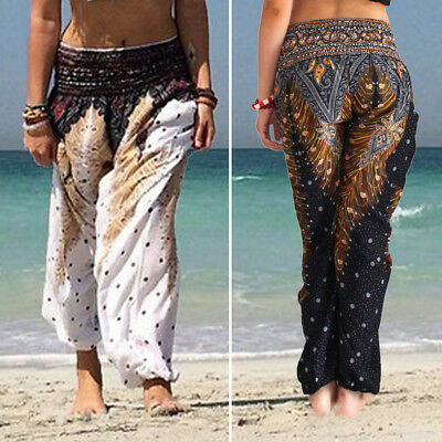 Women Baggy Harem Pants Yoga Gym Dance Hippie Boho Gypsy Loose Palazzo Trousers