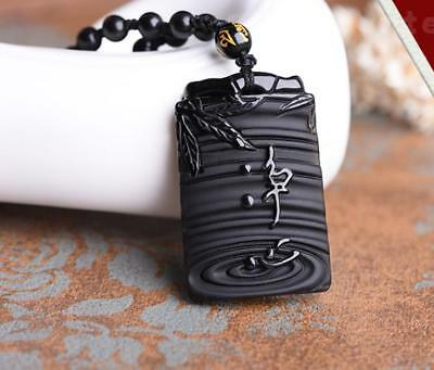 Hand carved Natural obsidian Buddha meditation Chinese  carved pure  pendant