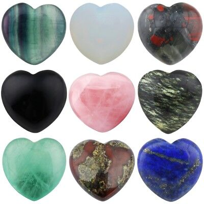 Natural Crystal Gems Puff Heart Palm Worry Stone Healing Reiki Love Decor 0.8''