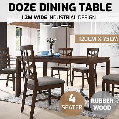 Dining Table 120x75cm Solid Timber Glossy Brown 4 Seater Rubberwood Furniture