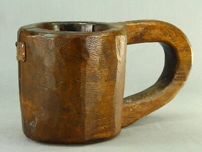 ! 1700's Antique EARLY Hand Carved Wooden Mug Handled Cup Primitive Treen Ware