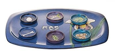 Passover Stoneware Seder Plate With 6 Small dishes in Turquoise Blue