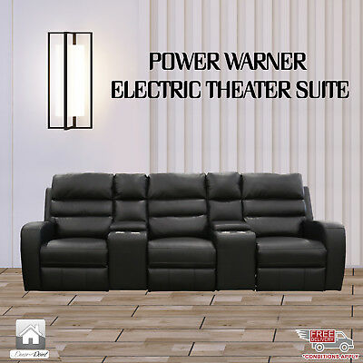 New Luxury Leather Air 3 Seater Power Warner Electric Recliners, Black Color