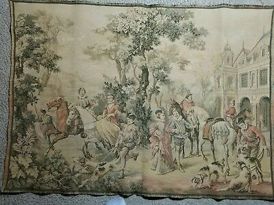 FRENCH ANTIQUE VINTAGE 1920s CHATEAU ROMANTIC TAPESTRY HUNTING DOGS 28X44 LARGE