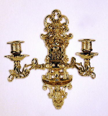 Antique Wall Mounted Candle Holder,Wall Light, Piano, Brass Burnished, Baroque
