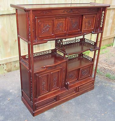 Chinese Antique Style Hardwood Etagere Cabinet 20th Century