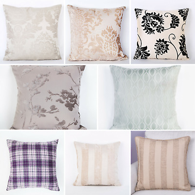 """Cushion Covers Damask Checked Striped Luxury Designs 18""""x18"""""""