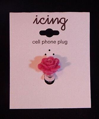 Lot Of 5 Icing Brand Sparkly Pink Rose Cell Phone Dust Plugs BNIOP Come And See!