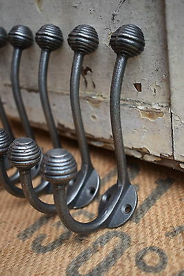 5 Victorian Vintage Industrial Style Cast Iron Beehive Tip Coat Hooks pegs rack