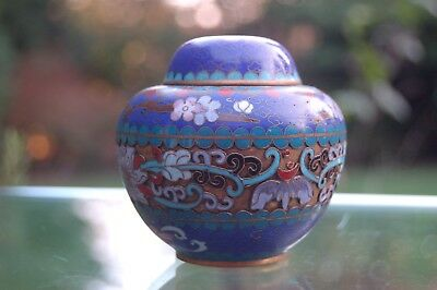 Antique Chinese Cloisonne pot with bats and flowers