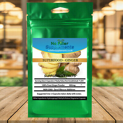 Superfood 100% Pure Organic Ginger Vegetable Capsules No Fillers Gingerol