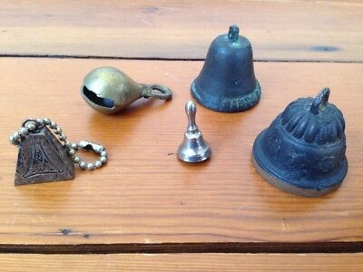 Mixed Lot 5 Vintage Small Metal Brass Cast Iron Bells from Around The World