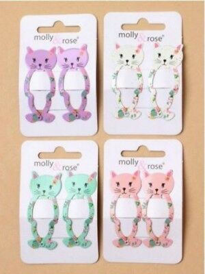Childrens Girls Kids 5cm Cute Cat Sleepies Hair Grips Clips Pink White Lilac