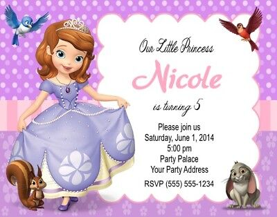 Sofia the first princess birthday party invitations personalized you sofia the first princess birthday party invitations personalized custom stopboris Image collections