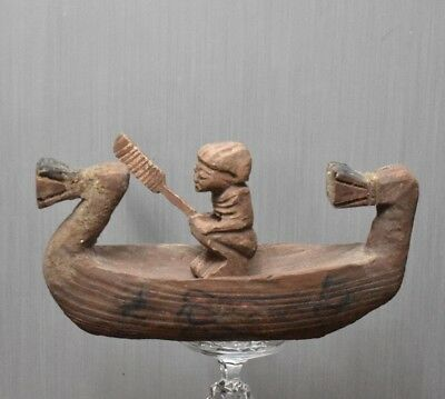 ANCIENT ANTIQUE Egyptian  wood river boat (300-1500 BC)