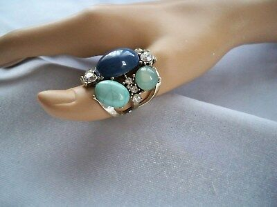 Crystal Rhinestone & Blue Lucite Cabochons Chunky Costume Ring Size 7.75