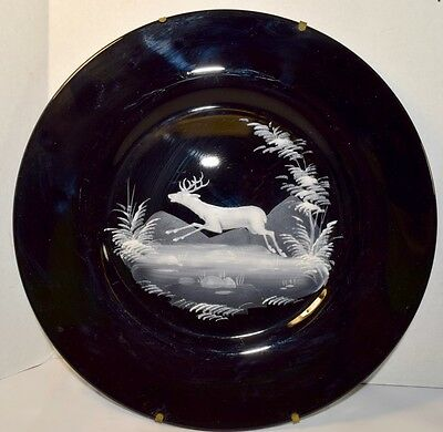 Vintage Mary Gregory (or Style of), Black Glass Plate with Deer in Landscape