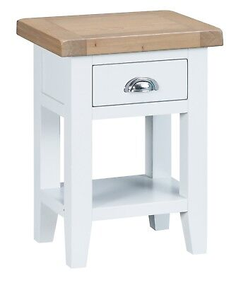 Elegance Oak Side Table-White Painted-Occasional Sofa Lamp End Unit-In Stock