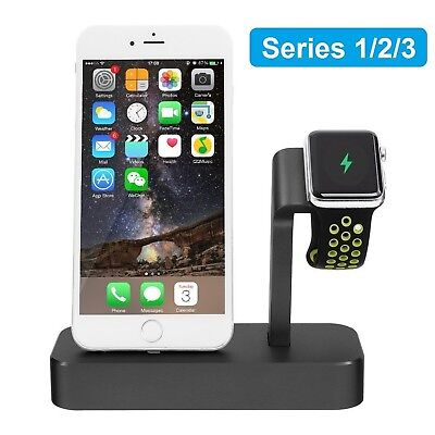 2 in 1 Aluminum Apple Watch Stand and Charging Dock Station for iPhone Black