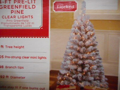 CHRISTMAS TREE 4 FT FLOCKED PRE-LIT Greenfield Pine Artificial 105 CLEAR LIGHTS