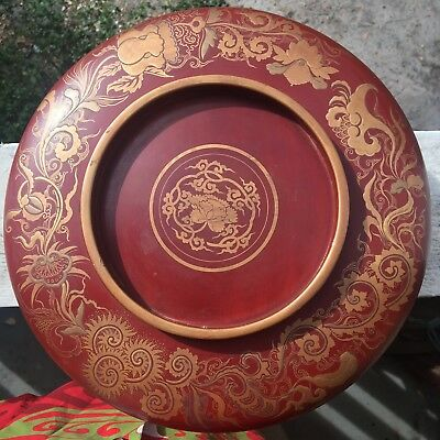 Antique Showa Edo Period Minogame Japanese Red & Gold Lacquer Rice Bowl with Lid