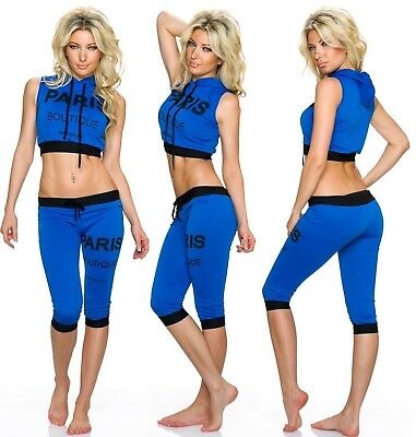 Neu Damen Sport Top Set  Shorts 34 36 38 Blau  Leggings Italien Kapuze Fitness