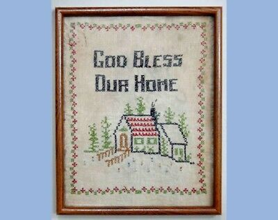 1920s antique CROSS STITCH SAMPLER w/FRAME ~GOD BLESS
