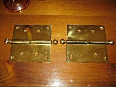 "Antique Pair Of Large Hinges Split Type Solid Brass Hinge 5"" x 5"""