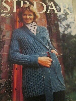 SIRDAR DK knitting pattern Ladies Long Jacket Cardigan Size 32-40