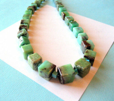 Vintage Chrysoprase and Sleeping Beauty Santo Domingo Pueblo Choker 16.5 Inches