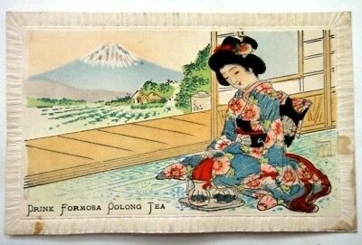 antique JAPANESE LADY silk KIMONO POSTCARD advertising DRINK FORMOSA OOLONG TEA