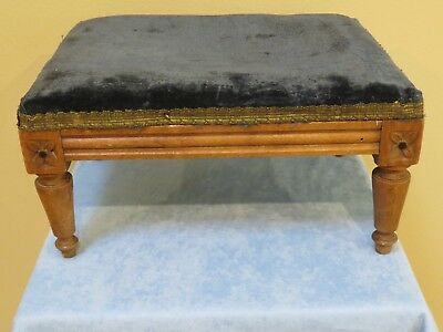 Antique Foot Stool with Navy Blue Velvet Top
