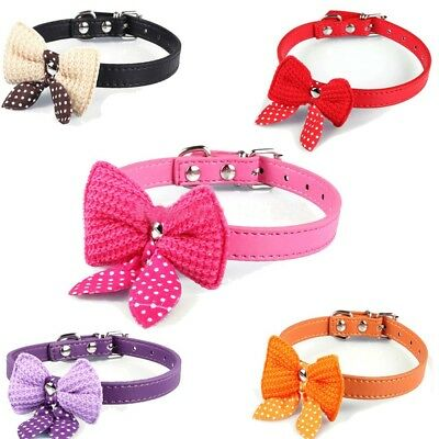 Knit Bowknot Cat Collar Adjustable Leather For Dogs Pet Collars Necklace
