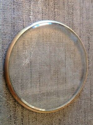 Antique Clock Brass Bezel Flat Bevelled Glass  120mm Diam Overall