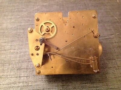 Antique Clock Movement Chiming 11x11cm Plates Untested For Spare Parts Repair
