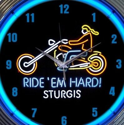 Motorcycle Neon Clock 15 Inch Sturgis Ride Em Hard Office Game Room Man Cave