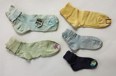 LOT 1950s vintage 5pr UNUSED SOCKS CHILD WOMAN GIRL TAGS artknit aladdin 1ststep