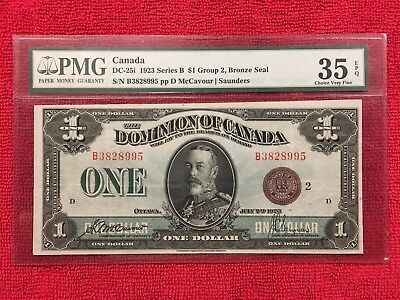 Dominion of Canada DC-25i  1923 1 Dollar Series B Group 2  Bronze Seal PMG 35EPQ