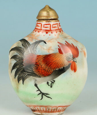 Porcelain Handmade Painting Cock Statue Home Decoration Snuff Bottle