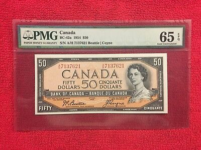 Bank of Canada BC-42a 1954 50 Dollar Modified PMG 65EPQ  Beattie/Coyne