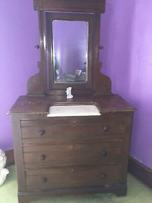 Antique, Dresser with Mirror, Brown