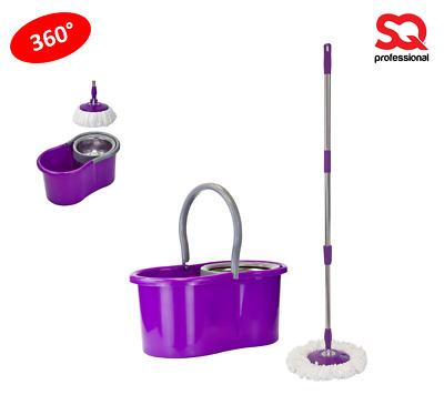 Pedal Bucket and Microfibre Rotary Spin Swivel Mop Clean Set Extendable Purple