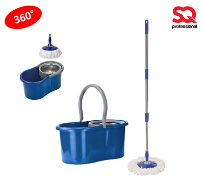 Bucket & Microfiber Rotary 360° Spin Swivel Mop Clean Set Extendable Blue