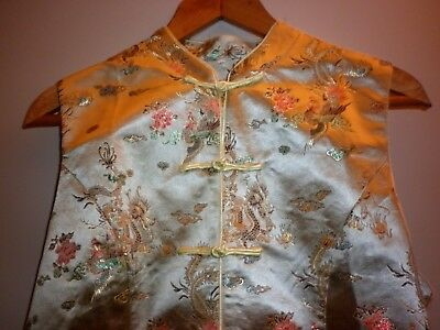 Vintage Chinese Brocade Vest Size Xl  Excellent Condition