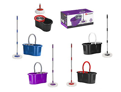 Bucket and Microfibre Rotary 360° Spin Swivel Extendable Mop Cleaning Set