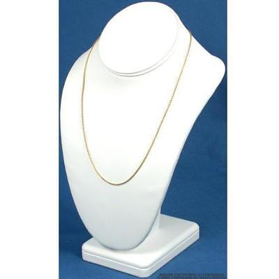 White Faux Leather Necklace Pendant Bust Jewelry Display 10""