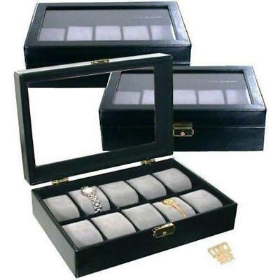 3 Black Faux Leather Watch Display Box Holds 10 Watches