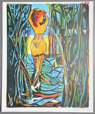 Karl-Heinz Hansen-Bahia Nair Serigraphie 41x49 Sex for Everyone 1973 Signed Akt