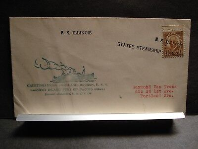 States Steamship Co SS ILLINOIS Naval Cover 1936 DIESING Cachet Portland, Oregon